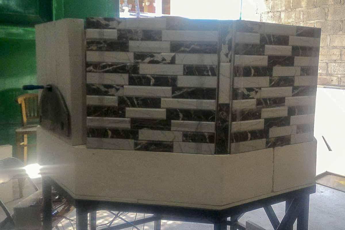 Aurora 120 mosaic Oven Pizza Brick Lava Stones Wood Gas Bali Indonesia Asia 400 044