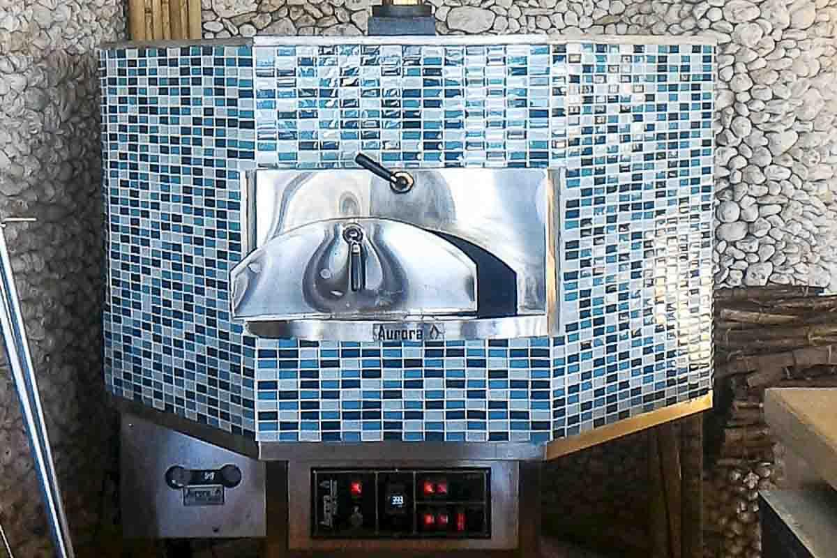 Aurora 120 mosaic Oven Pizza Brick Lava Stones Wood Gas Bali Indonesia Asia 400 062
