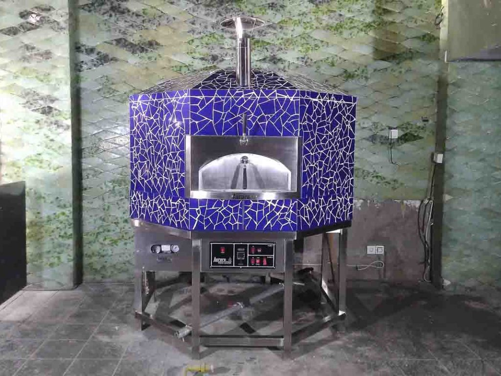 Aurora 120 mosaicblue Oven Pizza Brick Lava Stones Wood Gas Bali Indonesia Asia 400 070